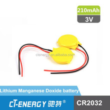 CMOS cr2032 battery with wire and connector for CR2032 backup battery