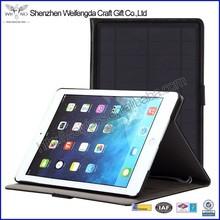 Factory hot sell solar charge leather tablet case for ipad air