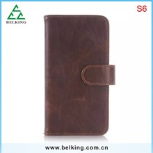 Vintage leather wallet For Samsung Galaxy S6 G9200 Brown leather wallet case