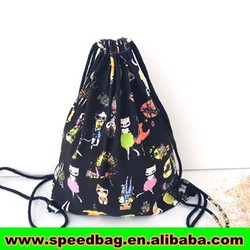 Cute canvas wholesale drawstring bags