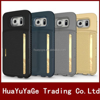 Free Shipping Q Wallet PU&TPU Soft Leather case with Credit ID card cover for Samsung Galaxy S6