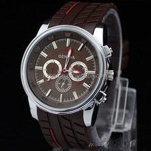 Trendy Silicone strap big case chrono mens wrist watches coffee color