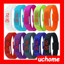 UCHOME 2015 Hole sale silicone rubber led sport wrist watch