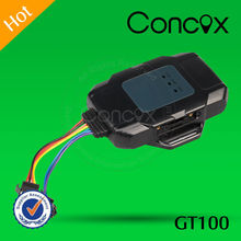Concox GT100 motorcycle waterproof gps tracker with cut-off alarm and low voltage protection function.