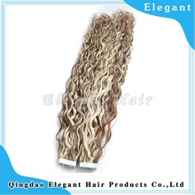 Hot Beauti two tone tape weft 100% Human Unprocess Virgin Malaysian Curly Hair