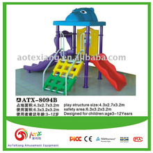 Family using children play slide equipment --- small size