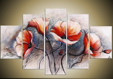 Flowers frame Stretched Canvas Oil Painting