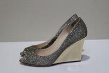 women fashion Glitter Sandal Peep Toe Wedge Shoes Light Bronze sculpted wedges metal glittering metallic pump