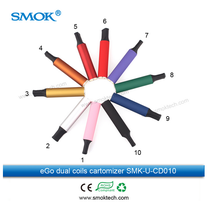 Wholesale ecig disposable cartomizer Smoktech 5ml Mega ego Dual Coils cartomizer lots colors