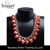 fashion amber necklace acrylic bead chunky necklace for little girl