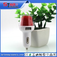 LED charging indicaitor rose shape car accessories small 12 volt battery custom usb car charger compatible with mobile phone