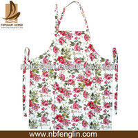 Polycotton Pink Rose Printed Aprons Wholesale