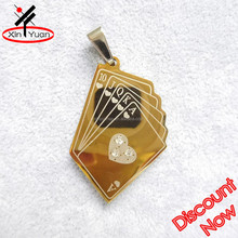 laser etched poker card custom made pendants in stainless steel