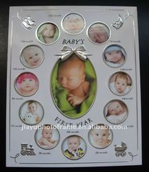 Classic 1st Year Metal Baby Photo Frame , Baby 12 Month Photo Frame , Baby Picture Frame
