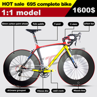 2015 new model 695 795 Carbon Complete Road Bike Bicycle Design Carbon Bike With groupset wheel bar stem saddle free shipping