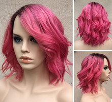 High Quality Shipping Fast Pink Color Indian Women Hair Wig Full Lace Wig