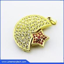 Star+moon shaped wedding gift usb memory stick usb novelty bulk stock jewelry usb flash drive