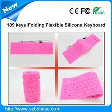 Impermeable 109 teclas Multi-color plegable de silicona mini ordenador portátil el teclado