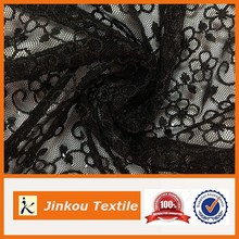 New Design Black Polyester Fabric floral dress Fabric Flower Embroidery Fabric