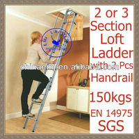 Loft Ladder Aluminium 3 metre 3 Stage Attic Ladders manufactured to EN 14975/SGS.