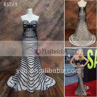 RSE69 Black Straps Pattern Evening Sequins Beaded Dresses Celebrity Red Carpet Dress Lace