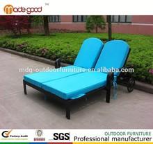 2015 venta caliente exterior muebles de aluminio muebles del patio doble chaise lounge salón chaise silla