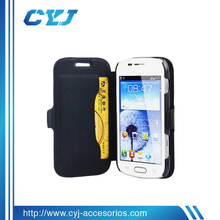 Genuine business Leather flip book cover for samsung galaxy trend duos