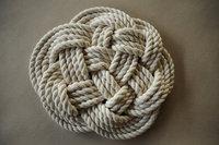 14inch Nautical Wedding Cotton Cord decorations - White Cotton Rope Trivet - Nautical Decor Navy cotton rope- Cotton Ropedecor