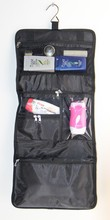 2015 Wholesale promotional high quality black travel hanging toiletry bag