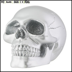 All new design custom made resin Silver Skull Head Collectible Skeleton Decoration Statue
