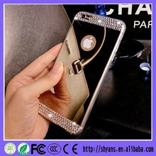 Luxury TPU Soft Crystal Bling Diamond Case Back Cover Skin Mirror Phone Case for Iphone and Samsung Models