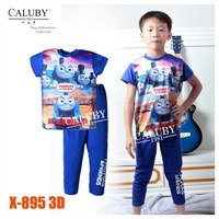 Baby Boys Blue Trains Pajamas Set Kids Autumn -Summer Clothing Sets 2015 New Wholesale Children Cartoon Clothes X-895 3D