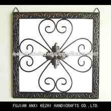 hecho a mano antiguo negro mate cuadrada de metal decoración de la pared