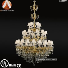 30 Light Antique Chandelier Made of Zinc Alloy & Clear Crystal