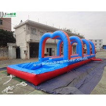 Blue and red commercial long slip and slide with pool made in China factory for outdoor use