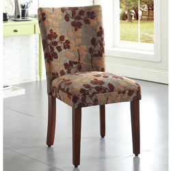 HomePop Classic Brown Tan Sage Leaf Fabric Dining Chair