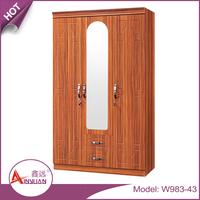 Bedroom room furniture modern 3 door closet cheap bedroom wooden wardrobe with mirror