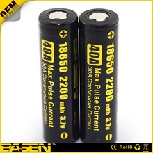18650 li ion battery 18650 3.7v 2200mah 1x18650 lithium rechargeable battery 40A