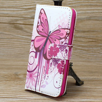 Beautiful color Drawing Flip PU leather stand wallet cover case for iphone5c with magnetic buckle