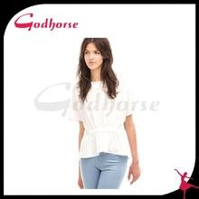 Nuevo diseño puro blanco blusa de seda 2015