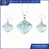 ERJS0085 square enamel stainless steel 2014 indian pink world imitation jewelry set