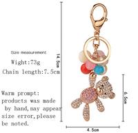 New Design Cute Bling Fancy Wholesale Enamel Gemstone Crystal Rhinestone Little Bear Key Ring , Keychain ,Key Chain