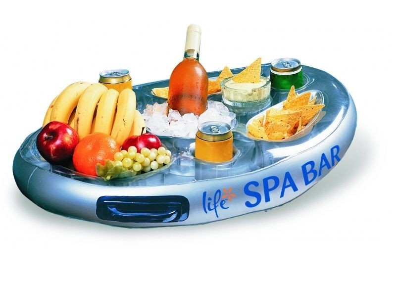 Flottant spa bar gonflable piscine c t plateau pour for Bar gonflable piscine