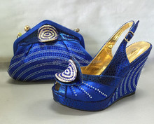 New arrival italian shoes and bags set for woman wedding dress, super wax material shoes and bag high quality Q0085