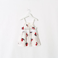 kids casual cherry embroidery cotton print strap dress baby girl tank summer tops OEM service manufacturer in guangzhou
