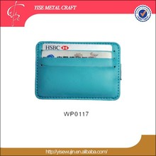 promotion colorful pu leather credit card case with metal money clip