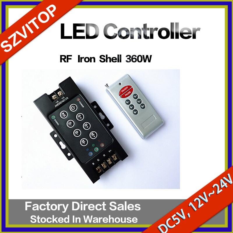 RF LED Light Strip Remote Controller Iron Case/Shell Power 360W DC5V,12V,24V JM-RFT8-360W
