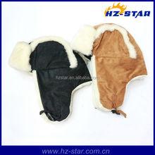 HZM-13861 fake fur pattern earflap child winter cheap cotton hats