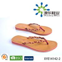 2015 Top Quality soft ladies flat LEATHER women slipper TPR EVA sole cotton fabric upper PU sandal