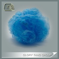 bright fluorescent blue colour dope dyed polyester fibre with stock